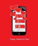 ¡El día de tarjeta del día de San Valentín feliz! Ramo de corazones y de amor de mensajes de texto en móvil/el teléfono celular Fotografía de archivo
