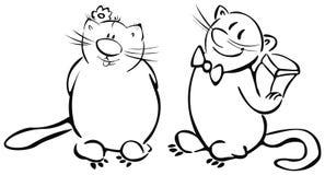 El día de tarjeta del día de San Valentín, gatos divertidos. ilustración del vector