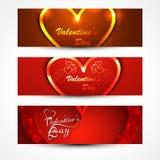 El día de tarjeta del día de San Valentín hermoso para las banderas o los jefes fijados  Imagenes de archivo