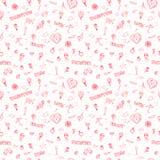 El día de tarjeta del día de San Valentín o casarse el modelo inconsútil del garabato Foto de archivo libre de regalías