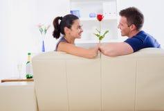 El día de tarjeta del día de San Valentín se levantó Imagenes de archivo