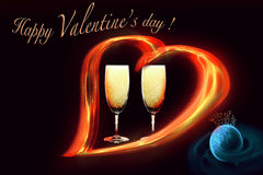 El día de tarjeta del día de San Valentín - tarjeta del día de fiesta Imágenes de archivo libres de regalías