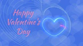 El día de tarjeta del día de San Valentín, corazones en el amor, límite por el cupido, en fondo azul stock de ilustración