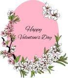 El día de tarjeta del día de San Valentín feliz de la tarjeta hermosa de la flor del vector ilustración del vector