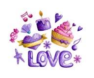 El día de tarjeta del día de San Valentín de la acuarela stock de ilustración