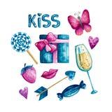 El día de tarjeta del día de San Valentín de la acuarela libre illustration