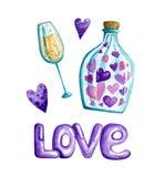 El día de tarjeta del día de San Valentín de la acuarela ilustración del vector