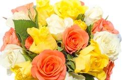 El día de tarjetas del día de San Valentín florece con las flores de las rosas blancas, anaranjadas, rojas y amarillas Fotografía de archivo