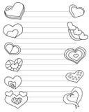 El día de tarjetas del día de San Valentín estilizó la hoja de papel con los corazones y las líneas para la letra de amor en colo Foto de archivo