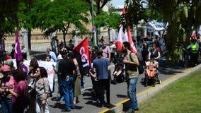 El día de trabajos protesta 1 almacen de video