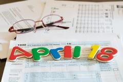 El día del impuesto para 2016 devoluciones es el 18 de abril de 2017 Fotografía de archivo libre de regalías