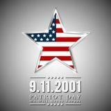 El día del patriota de los E.E.U.U. con la estrella en bandera nacional colorea la bandera americana stock de ilustración