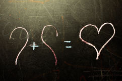 El día del ` s de la tarjeta del día de San Valentín está en el consejo escolar Imagenes de archivo