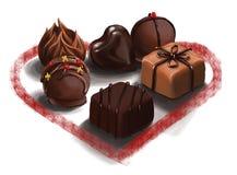 El día del ` s de la tarjeta del día de San Valentín clasificó las trufas de chocolate belgas para expresar amor Imágenes de archivo libres de regalías