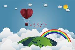 El día del ` s de la tarjeta del día de San Valentín hincha en un vuelo en forma de corazón sobre el fondo de la opinión de la hi Foto de archivo
