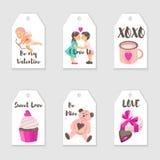 El día del ` s de la tarjeta del día de San Valentín del vector marca plantillas con etiqueta libre illustration