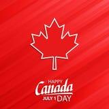 El día feliz de Canadá, el 1 de julio festividad nacional celebra la tarjeta con símbolo de la hoja de arce y da las letras stock de ilustración