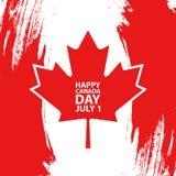 El día feliz de Canadá, el 1 de julio día de fiesta celebra la tarjeta Hoja de arce en fondo rojo del movimiento del cepillo ilustración del vector