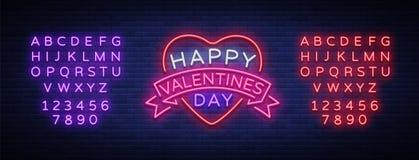 El día feliz de la tarjeta del día de San Valentín s es una señal de neón Bandera ligera brillante, cartelera de neón, publicidad stock de ilustración