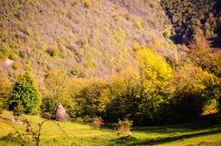 El día soleado hermoso está en paisaje de la montaña Fotos de archivo