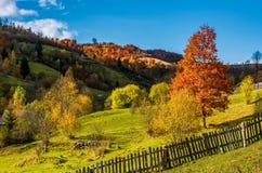El día soleado profundo del otoño en rural montañoso es Imagenes de archivo