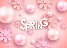 El día y los corazones de madre diseñan elementos Ilustración del vector Fondo rosado con las perlas, corazones libre illustration