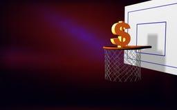 El dólar apunta la cesta ilustración del vector