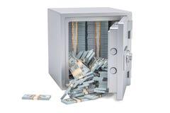 El dólar completo de la caja segura embala, la representación 3D Fotografía de archivo libre de regalías