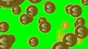 El dólar de EE. UU. acuña en el vuelo del oro en la pantalla verde, ejemplo animado libre illustration
