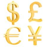 El dólar del oro, libra, euro, yuan firma Fotografía de archivo libre de regalías