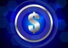 El dólar firma adentro el círculo de plata en fondo azul marino Foto de archivo