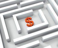 El dólar firma adentro a Maze Shows Dollars Credit Fotografía de archivo libre de regalías