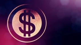 El dólar firma adentro suena Fondo de las finanzas de partículas luminosas animación del lazo 3D con la profundidad del campo, de almacen de video
