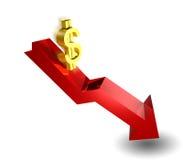 El dólar va abajo stock de ilustración
