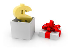 El dólar y la caja de regalo abierta Fotos de archivo libres de regalías