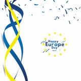 El d?a feliz de Europa celebra el ejemplo del dise?o de la plantilla del vector de la bandera ilustración del vector