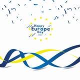 El d?a feliz de Europa celebra el ejemplo del dise?o de la plantilla del vector de la bandera stock de ilustración