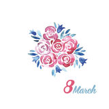 El día de las mujeres internacionales de la tarjeta de felicitación Fotografía de archivo libre de regalías