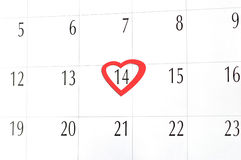 El día de tarjeta del día de San Valentín, calendario Fotografía de archivo