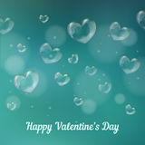 el 'día de tarjeta del día de San Valentín feliz'. Burbujas de jabón en forma de corazón Fotografía de archivo libre de regalías
