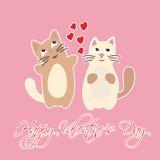 El día de tarjeta del día de San Valentín feliz con los corazones y los gatos Fotografía de archivo