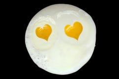 El día de tarjeta del día de San Valentín Fried Eggs Imágenes de archivo libres de regalías