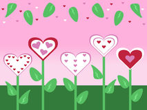 El día de tarjetas del día de San Valentín cortado pasado de moda abstracto de la flor y de la hoja del estilo carda el ejemplo d Foto de archivo