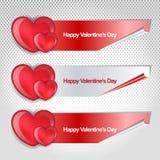 El día de tarjetas del día de San Valentín feliz modren la bandera Fotos de archivo