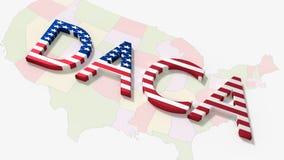 El daca de la palabra en un concepto americano de la inmigración del mapa ilustración del vector