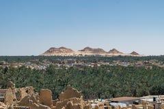 EL-Dakrour di Gebel nella vecchia città dell'oasi di Siwa nell'Egitto fotografie stock