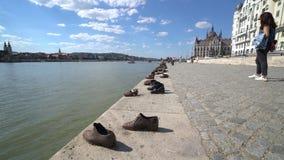 El ` Danubio calza el monumento del ` en Budapest almacen de metraje de vídeo