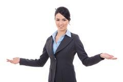 El dar la bienvenida de la mujer de negocios Imágenes de archivo libres de regalías