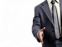 El dar la bienvenida del hombre de negocios del apretón de manos de la reunión Imagen de archivo