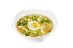 El ¡de Ð hicken la sopa de fideos con el huevo Foto de archivo libre de regalías